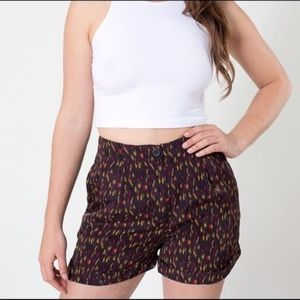 American Apparel Cuffed Patterned Shorts